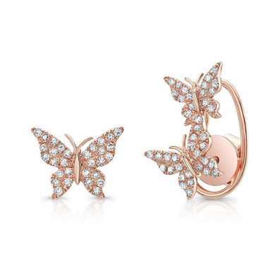 Rose Gold 14K Diamond Butterfly Earrings