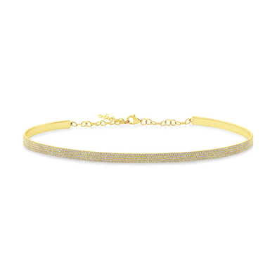 14K Yellow Gold Diamond Choker Necklace