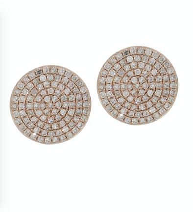 14K Rose Gold Diamond Circle Disc Earrings