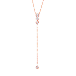 14K Rose Gold Diamond Circle Lariat necklace
