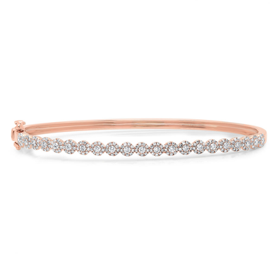 14K Rose Gold Diamond Cluster Small Bangle