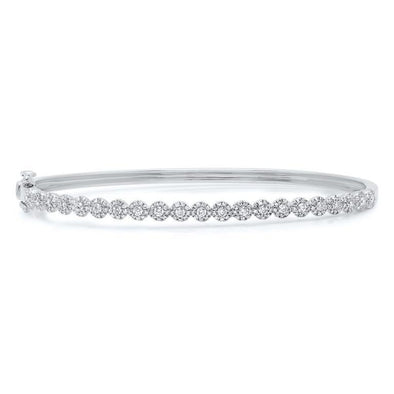 14K White Gold Diamond Cluster Small Bangle