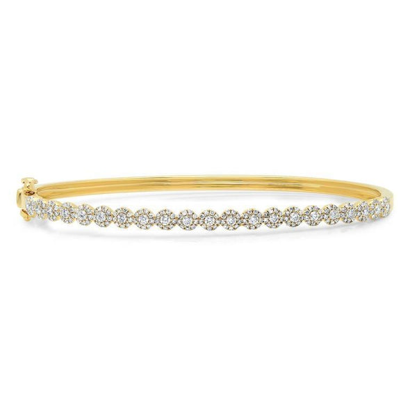 14K Yellow Gold Diamond Cluster Small Bangle