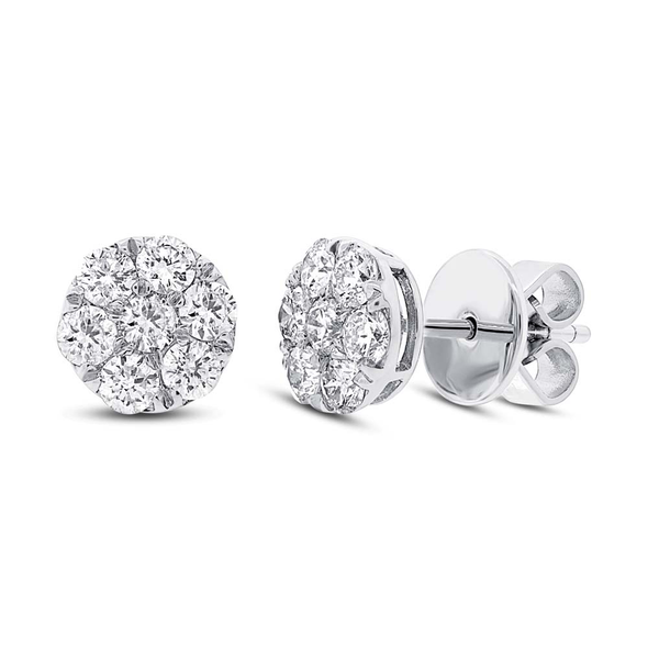 18K White Gold Diamond Cluster Stud Earrings