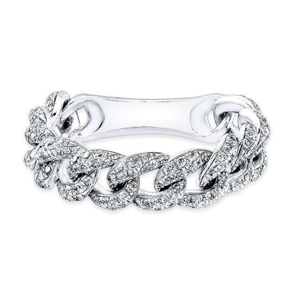 Diamond Curb Link Flexible Ring
