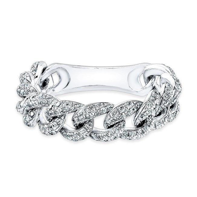 14K White Gold Diamond Curb Link Flexible Ring