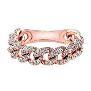 14K Rose Gold Diamond Curb Link Flexible Ring