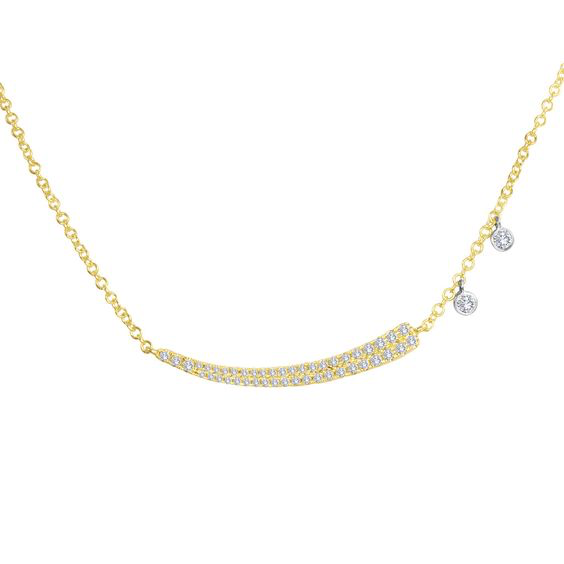 Diamond Curved Bar with Diamond Charm Necklace