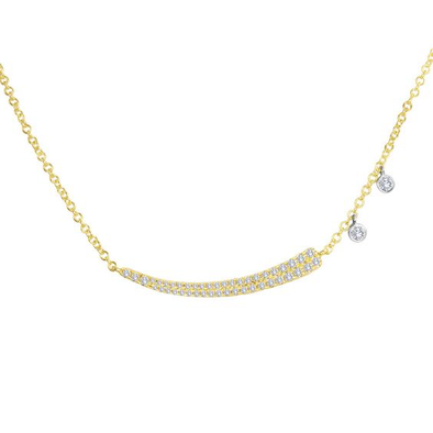 14K Yellow Gold Diamond Curved Bar with Diamond Charm Necklace