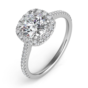 14K White Gold Diamond Cushion Halo Mounting