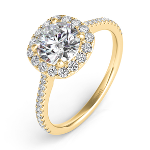 14K Yellow Gold Diamond Cushion Halo Mounting