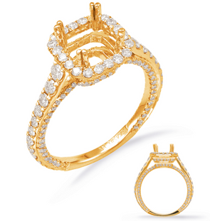 14K Yellow Gold Diamond Cushion Halo Semi-Mount