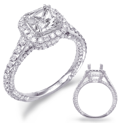 14K White Gold Diamond Cushion Halo Semi-Mount