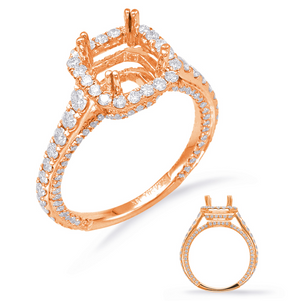 14K Rose Gold Diamond Cushion Halo Semi-Mount