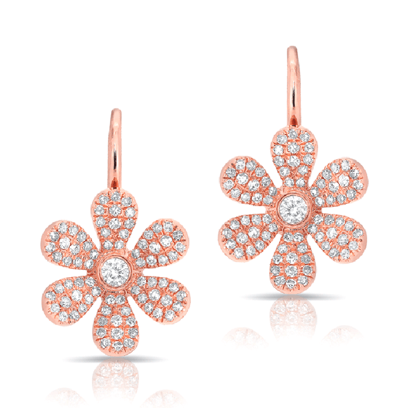 Diamond Daisy Flower Fireback Earrings