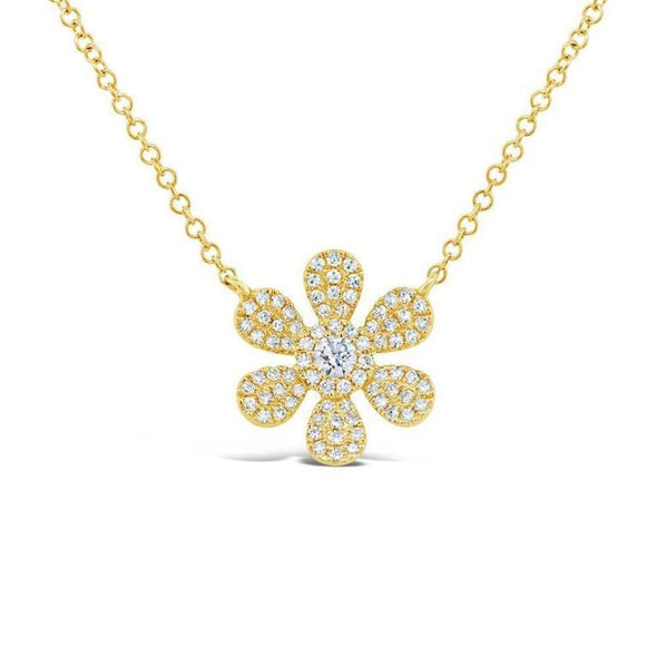 14K White Gold Diamond Daisy Flower Necklace