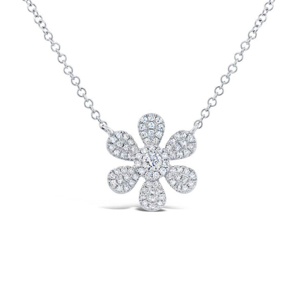 14K Yellow Gold Diamond Daisy Flower Necklace