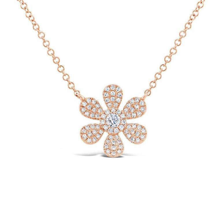 Diamond Daisy Flower Necklace