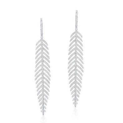 Diamond Dangle Feather Earrings