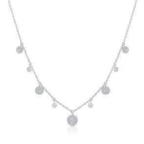 14K White Gold Diamond Disc Dangle Necklace