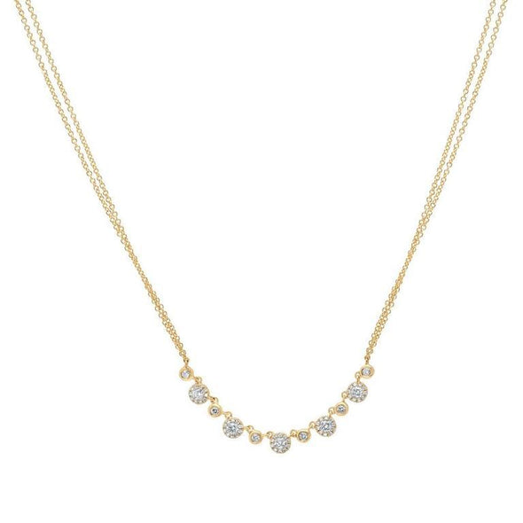 14K Rose Gold Diamond Disc Double Chain Necklace
