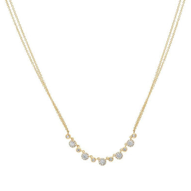 14K Yellow Gold Diamond Disc Double Chain Necklace