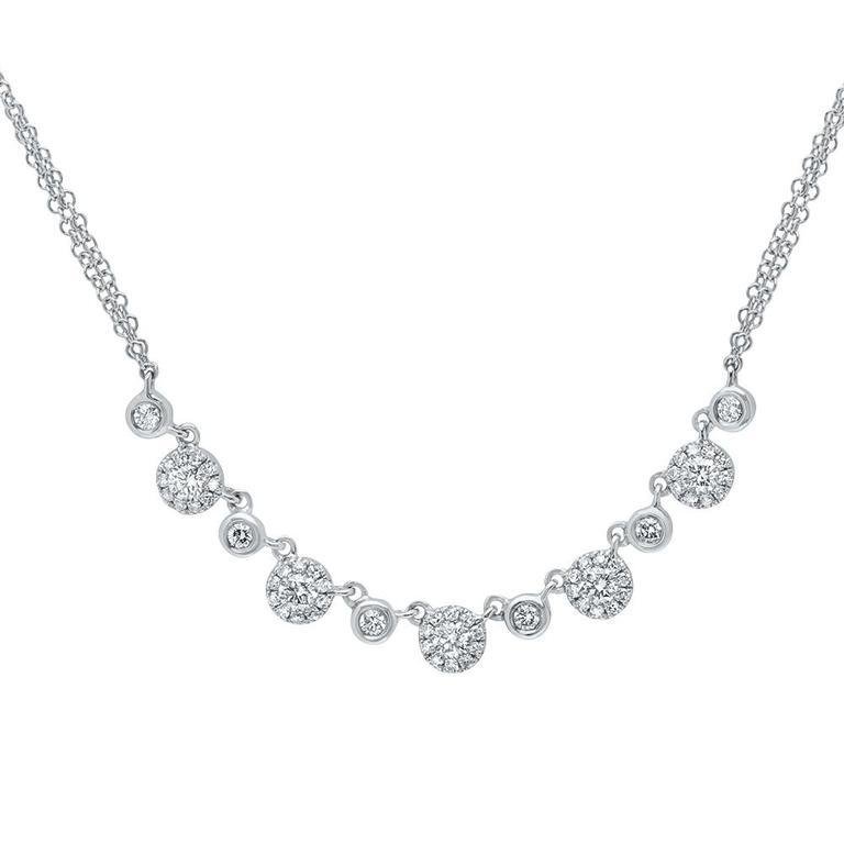 Diamond Disc Double Chain Necklace