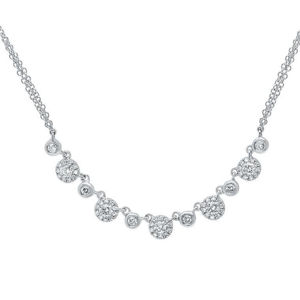 14K White Gold Diamond Disc Double Chain Necklace