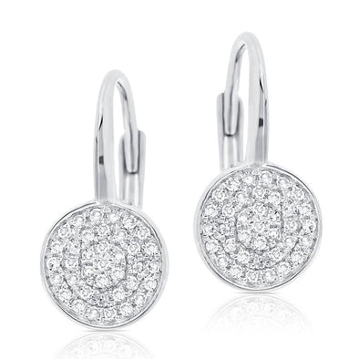 14K White Gold Diamond Disc Drop Earrings