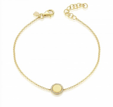 Yellow Gold 14K Diamond Disc Engraveable Bracelet
