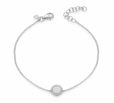White Gold 14K Diamond Disc Engraveable Bracelet