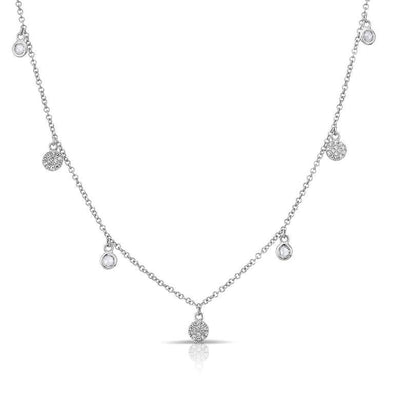 Diamond Disc Mini Disc and White Topaz Drop Necklace
