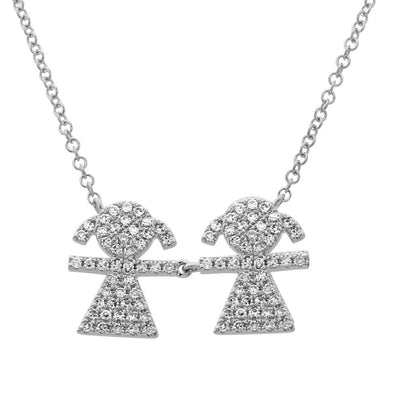14K White Gold Diamond Double Girl (Children) Necklace