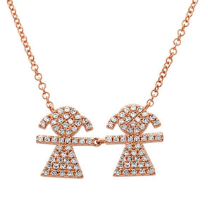 14K Rose Gold Diamond Double Girl (Children) Necklace