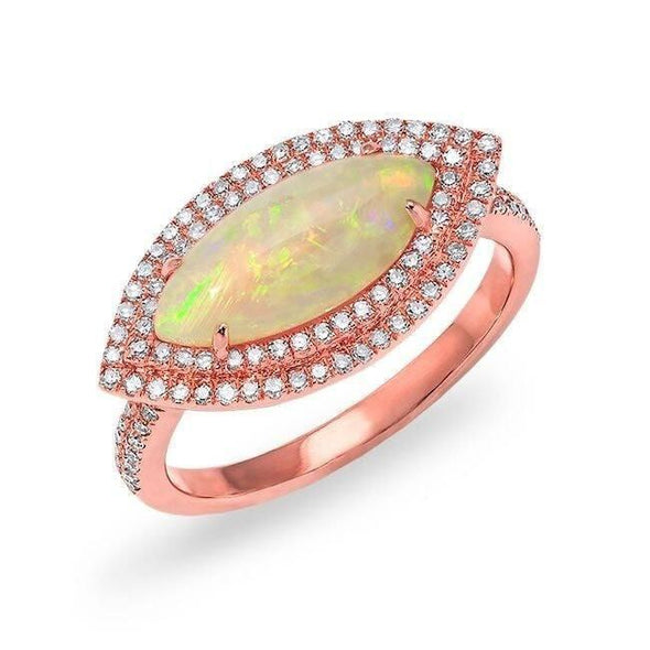 Diamond Double Halo and Opal Ring
