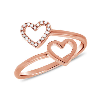 14K Rose Gold Diamond Double Heart Ring