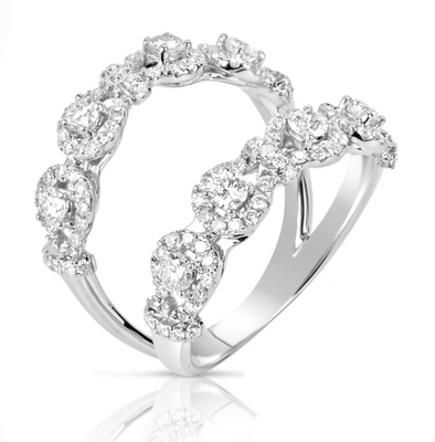 14K White Gold Diamond Double Open Halo Band