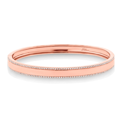 14K Rose Gold Diamond Double Row Bangle
