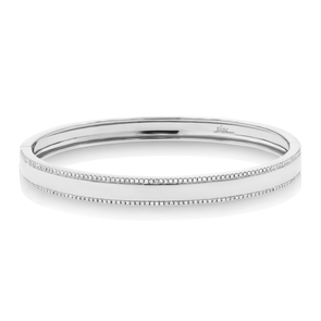 14K White Gold Diamond Double Row Bangle