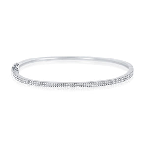 14K White Gold Diamond Double Row Hinged Bangle