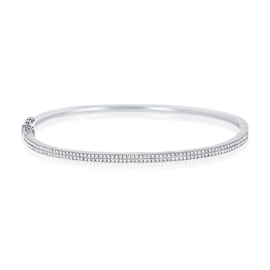 Diamond Double Row Hinged Bangle