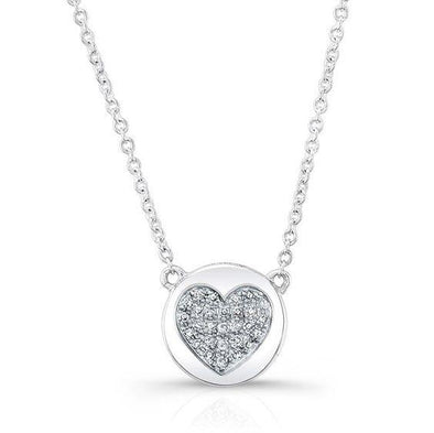 14K White Gold Diamond Double Sided Disc and Pave Heart Pendant