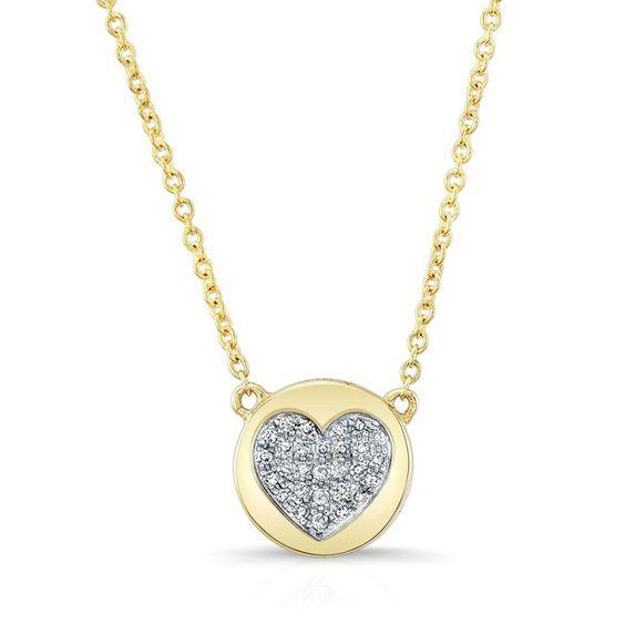 14K Yellow Gold Diamond Double Sided Disc and Pave Heart Pendant