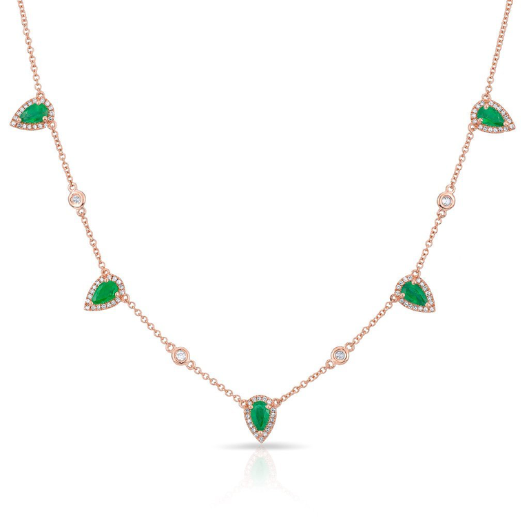 Diamond Emerald Pear Drop Necklace
