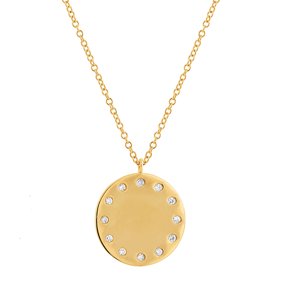 14K White Gold Diamond Engravable Polished Disc Pendant