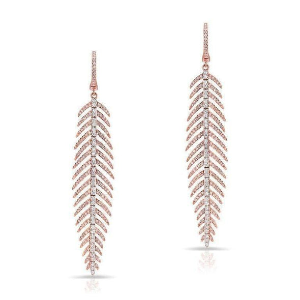 Diamond Feather Dangling Earrings