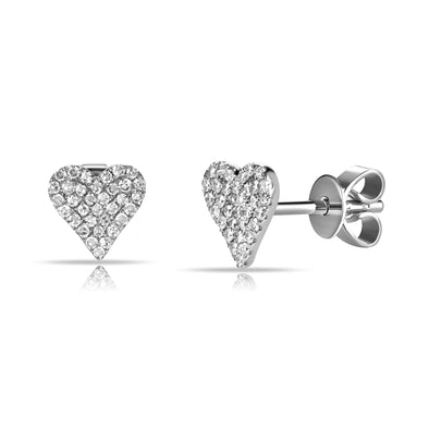 14K White Gold Diamond Flat Heart Earrings