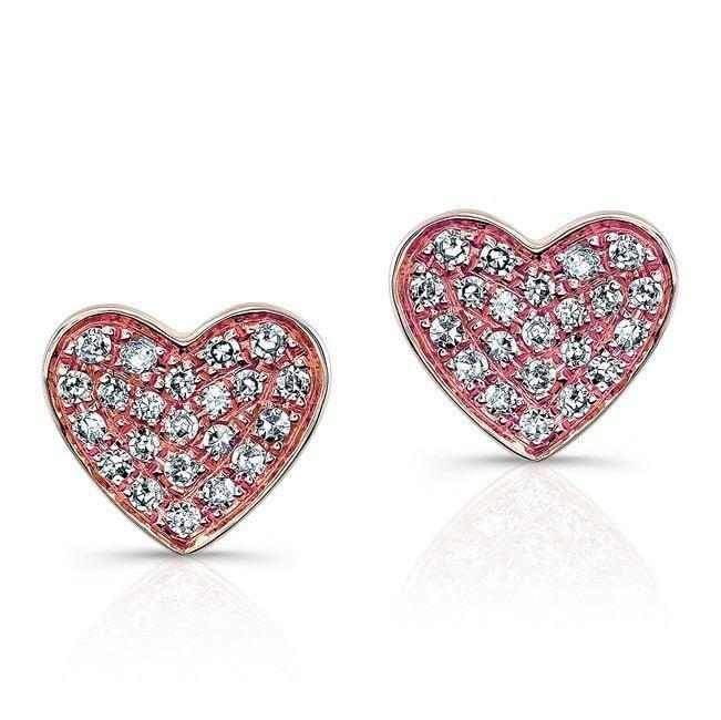 Diamond Flat Heart Stud Earrings
