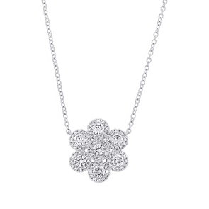 14K White Gold Diamond Flower Necklace