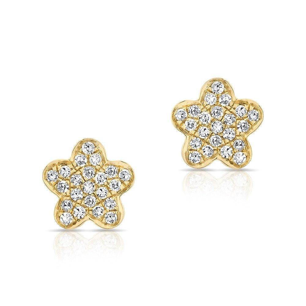 Diamond Flower Stud Earrings